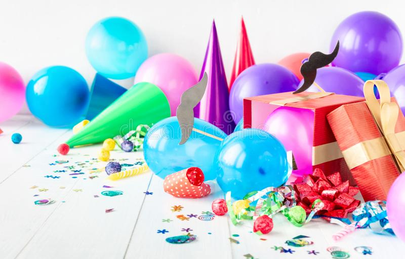 Happy Fathers Day Background Celebration Party Decoration Mustache Paper Balloon Confetti Gift royalty free stock images