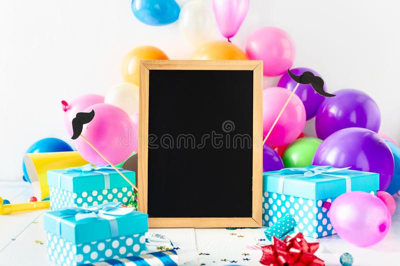 Happy Fathers Day Background Chalkboard Gift Celebration Party Decoration. Happy Fathers Day Background Chalkboard With Celebration Party Decoration Balloon royalty free stock images
