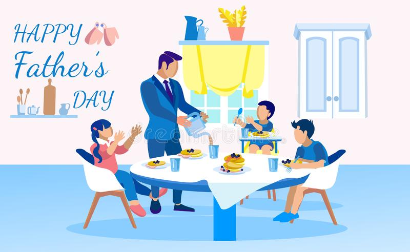 Happy Fathers Day Banner with Family Breakfast vector illustration