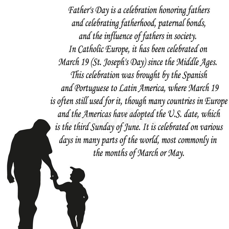 Happy Fathers Day , banner or poster, silhouette of a father holding his child hand. Vector illustration vector illustration