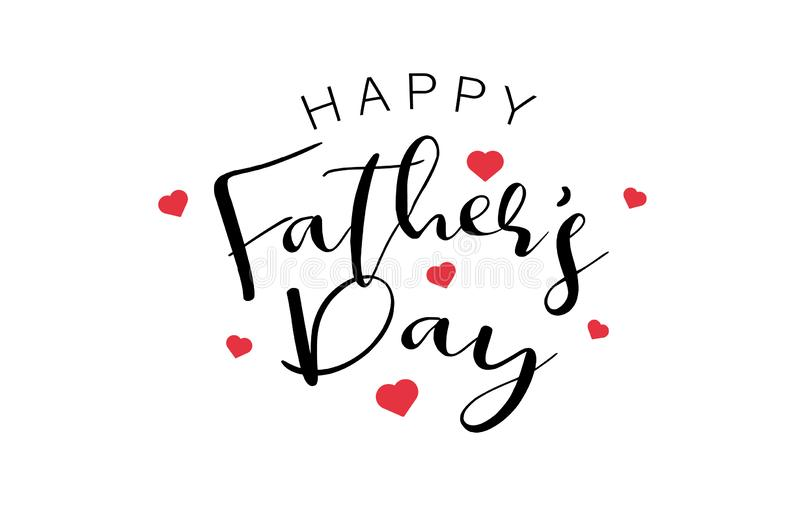 Happy Fathers Day Calligraphy text with mini red hearts. Holiday and decoration word and quotes concept. Vector illustration stock illustration