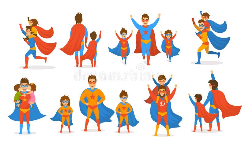 Happy fathers day concept isolated vector illustration scenes set, dad and kids, boy and girl playing superheroes, dressed in sup. Er hero costumes vector illustration