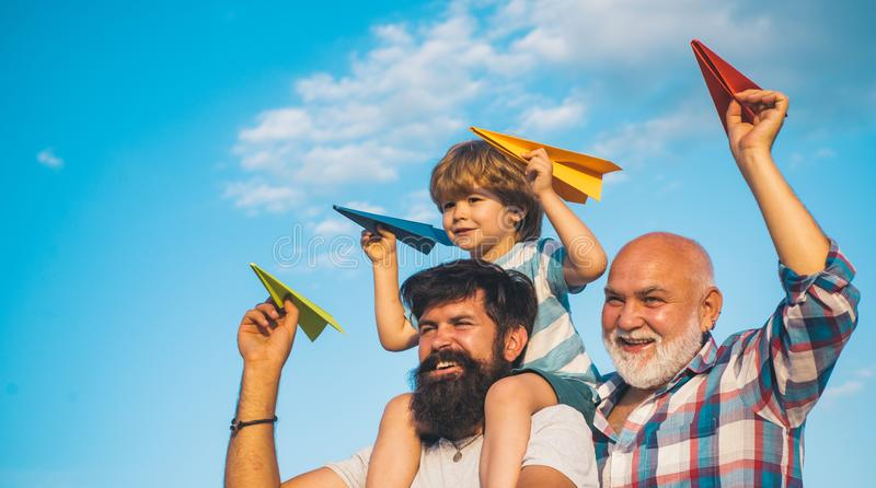 Happy fathers day. Excited Grandfather royalty free stock photos