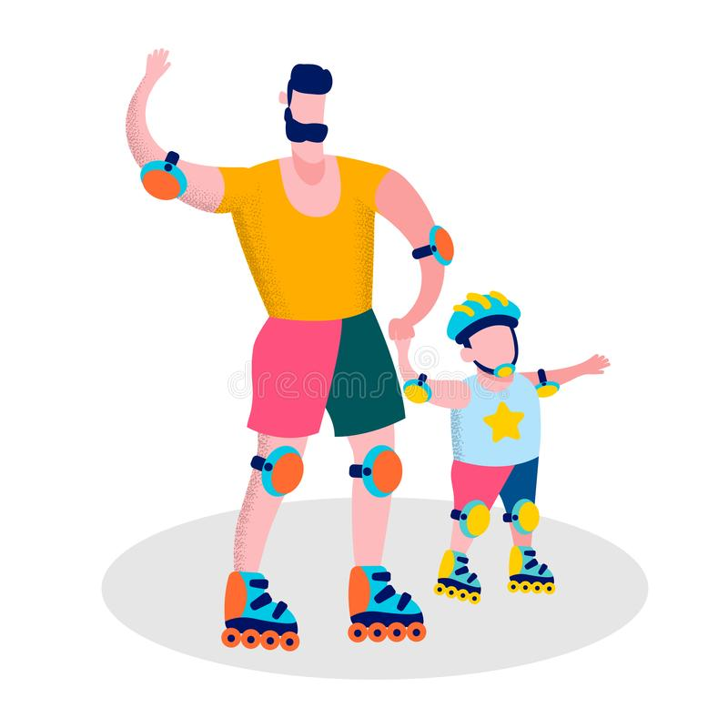 Happy Fathers Day Family Sport Recreation Banner royalty free illustration