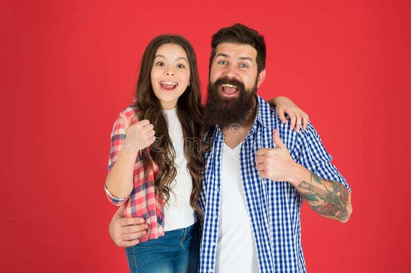 Happy fathers day. Father and daughter hug on red background. Child and father best friends. Parenthood goals. Happy. Childhood. Fathers day concept. Lovely royalty free stock photography
