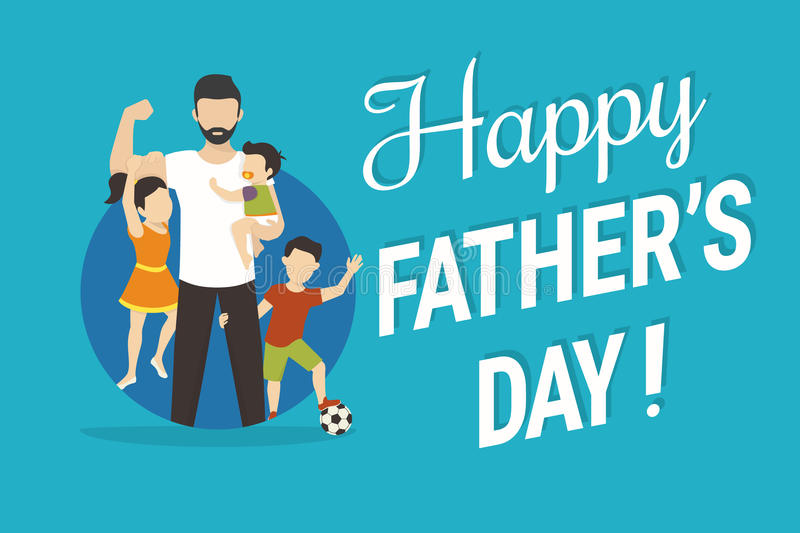 Happy fathers day. Flat conceptual illustration for greeting card or congratulations banner. Happy father with kids standing in the blue circle royalty free illustration