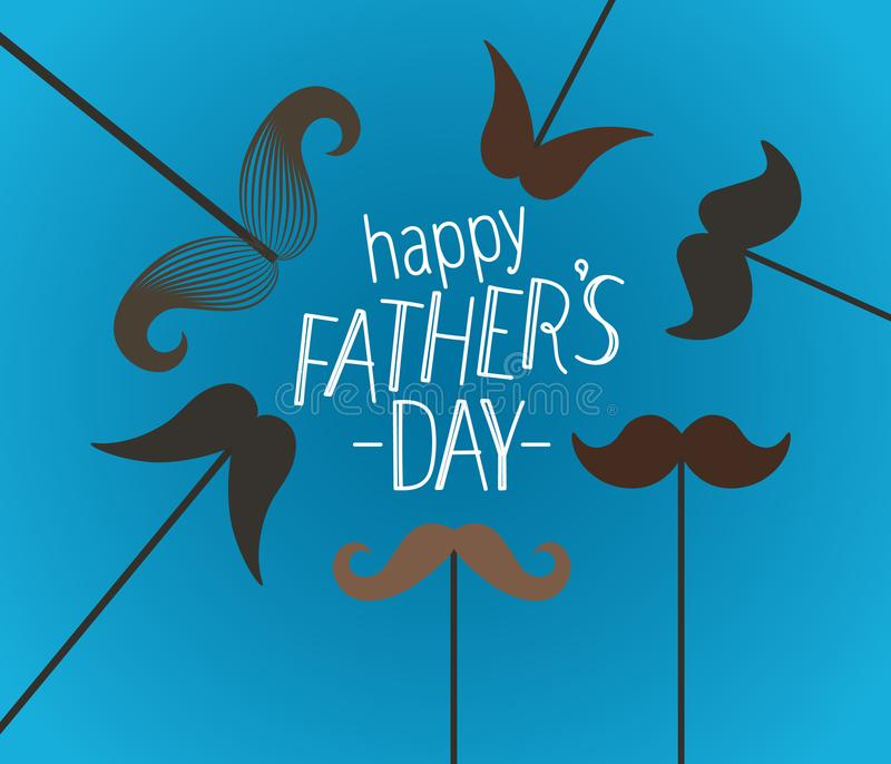 Happy fathers day greeting card with mustache vector illustration