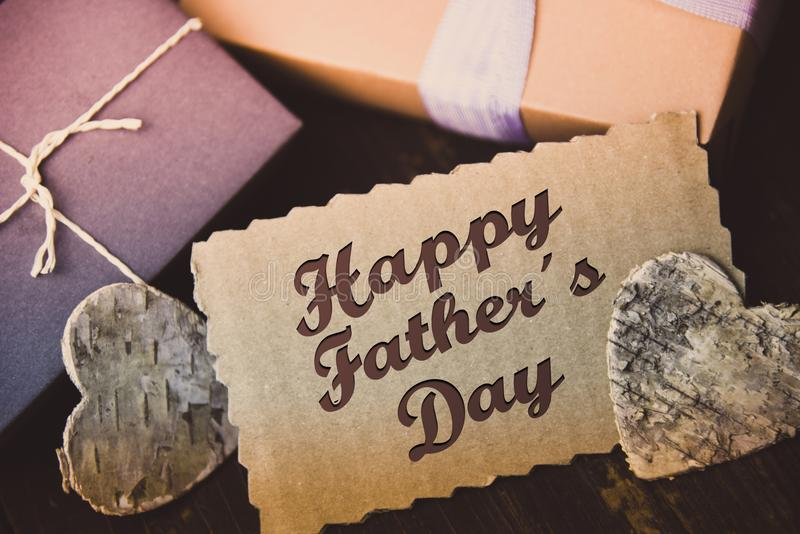 Happy fathers day letter present gift hipster vintage man stock photos