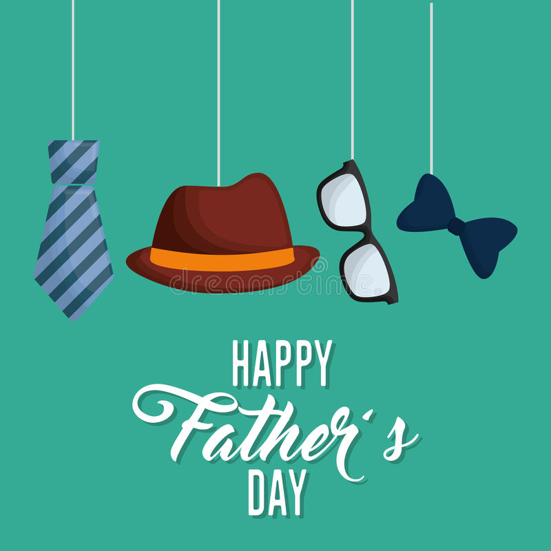 happy fathers day letters emblem and related icons image vector illustration