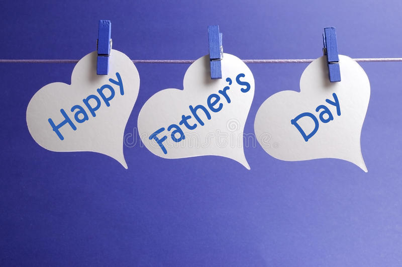 Download Happy Fathers Day Message Written On White Heart Shape Tags Hanging From Blue Pegs On A Line Stock Image - Image of masculine, line: 30067385