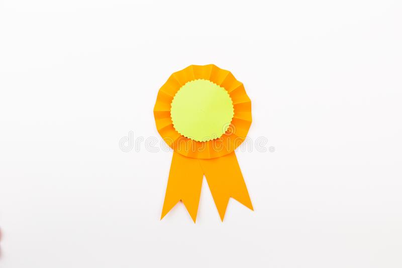 Happy fathers day red label with ribbons. Reward for a best father. Image stock image