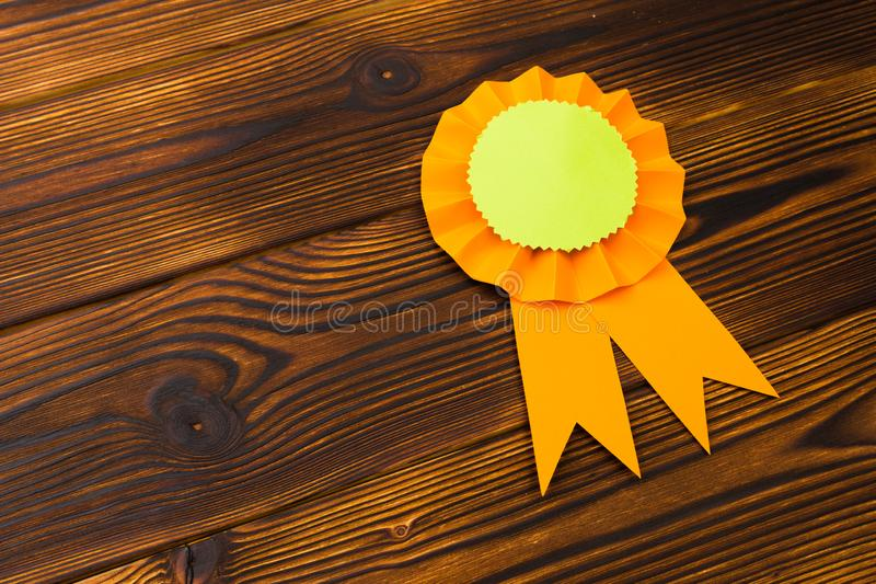 Happy fathers day red label with ribbons. Reward for a best father. Image royalty free stock images