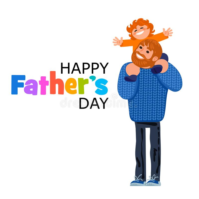 Happy Fathers Day text stock illustration