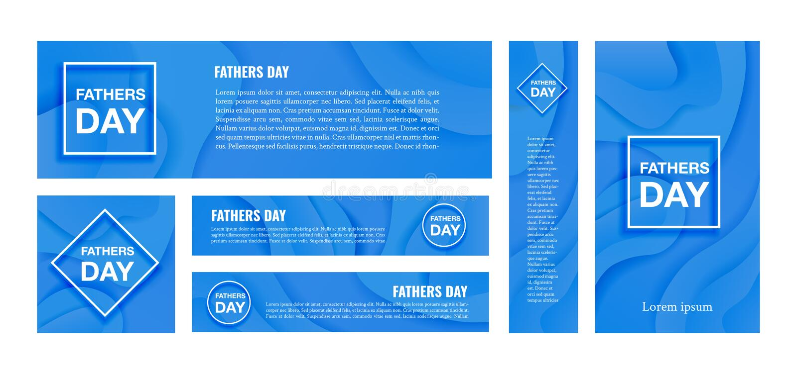 Happy fathers day vector banner on blue background vector illustration