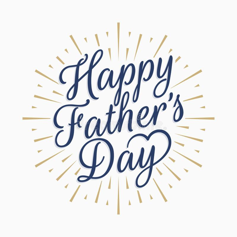 Happy fathers day vintage lettering. Gold abstract stock illustration