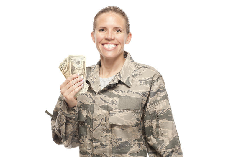 Happy female airman with money stock photo
