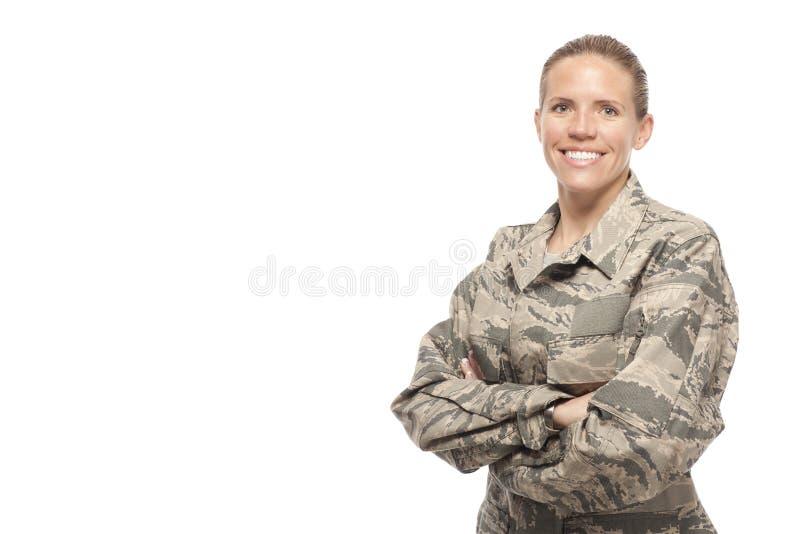 Happy female airman royalty free stock photography