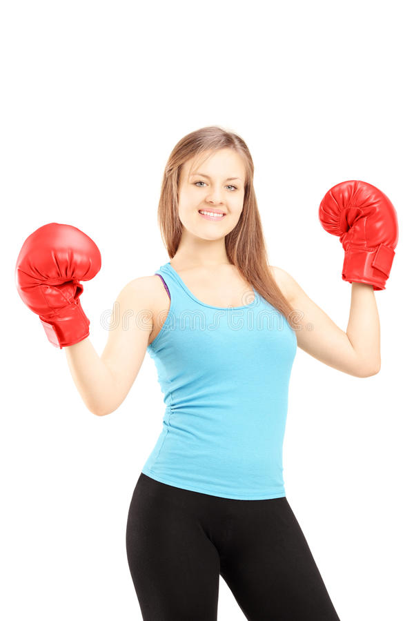Download Happy Female Athlete Wearing Red Boxing Gloves And Gesturing Stock Image - Image of happiness, person: 32409227