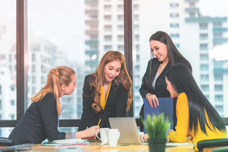 Happy Female Business woman helping and team in office stock images
