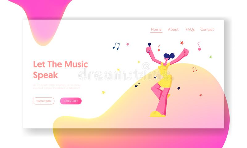 Happy Female Character Cheerfully Singing Song in Karaoke Bar, Young Girl with Microphone Performing on Party. Weekend Leisure. Website Landing Page, Web Page vector illustration