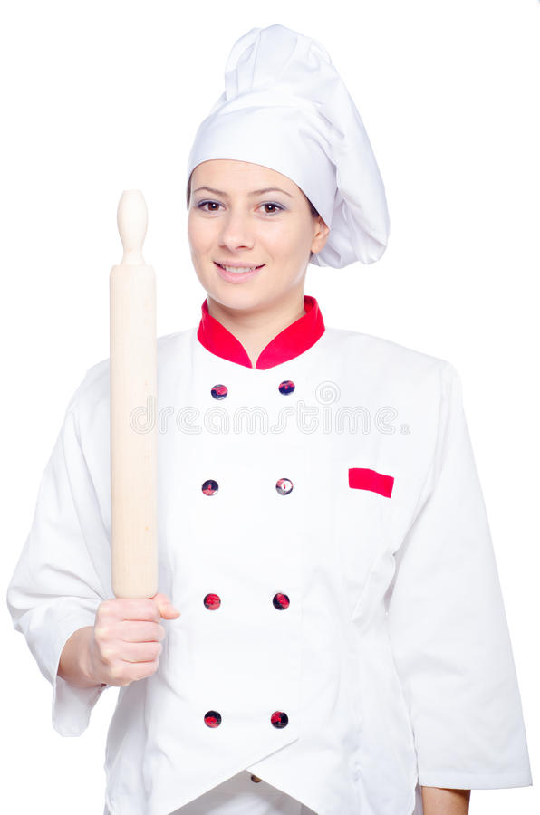 Happy female cook holding rolling pin on white royalty free stock photos