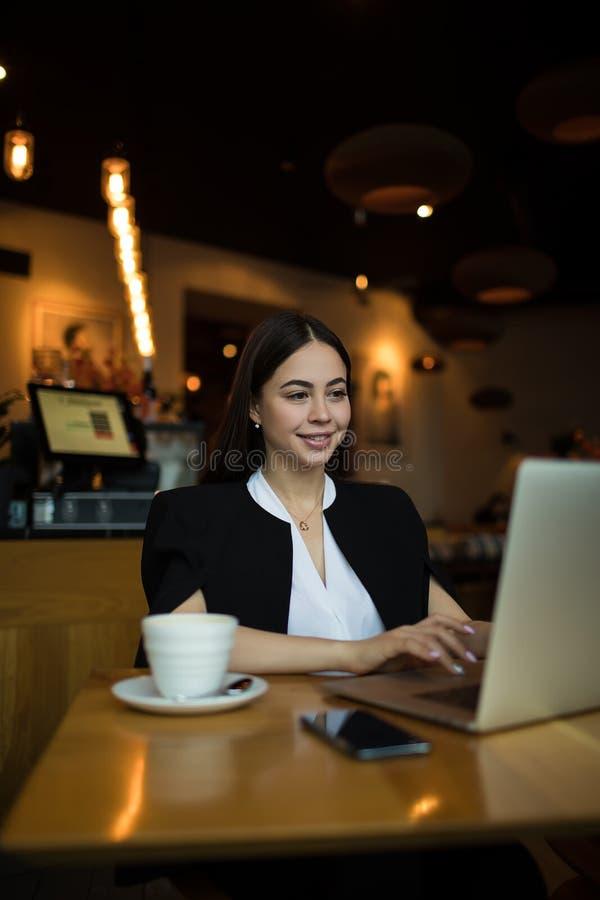 Happy female copywriter having training course royalty free stock image