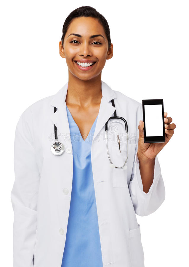 Happy Female Doctor Showing Smart Phone royalty free stock photography