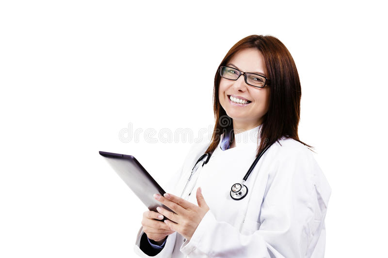 Download Happy Female Doctor With A Tablet Pc Stock Image - Image: 24125451