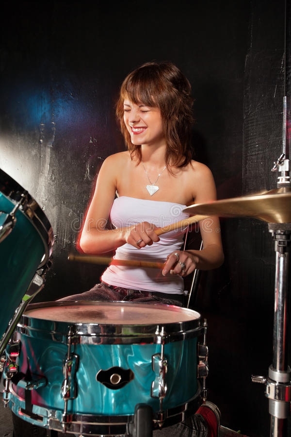 Download Happy female drummer stock image. Image of music, female - 25561955