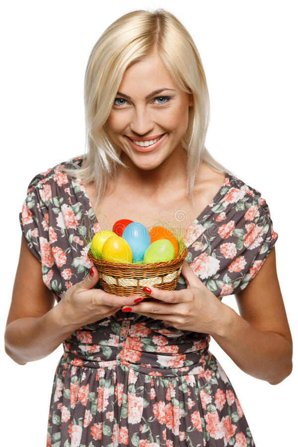 Happy female with Easter eggs royalty free stock image