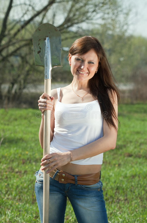 Happy female gardener royalty free stock photography