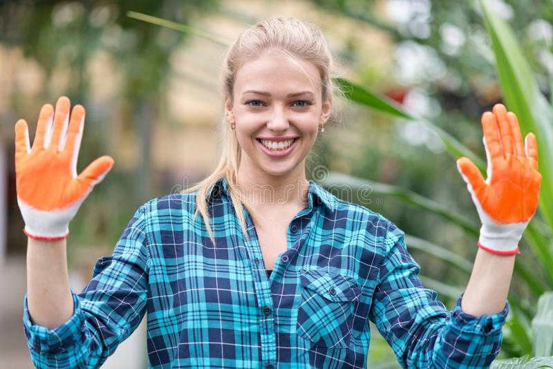 Happy female gardener royalty free stock image