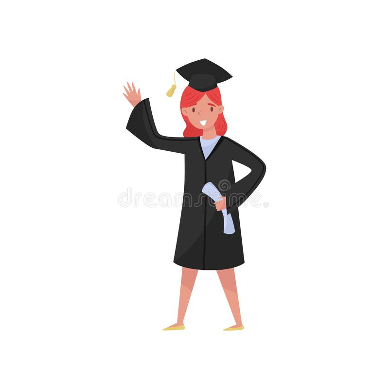 Happy female graduate, smiling graduation girl student in gown and cap waving her hand vector Illustrations on a white royalty free illustration