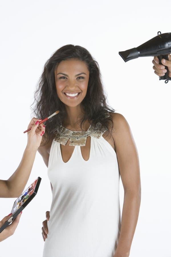 Happy Female Model Getting Ready royalty free stock photos