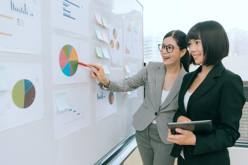 Happy female office workers looking at whiteboard royalty free stock image