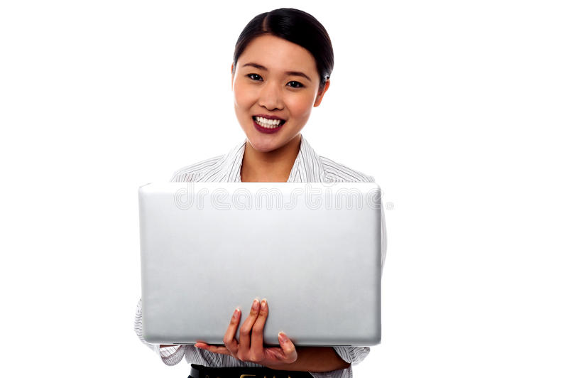 Happy Female Professional Woman With Laptop Stock Images