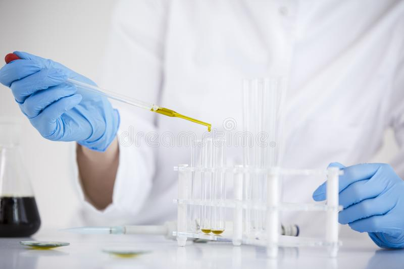 Scientist working with pharmaceutical cbd oil in a laboratory with glass dropper and a bowl royalty free stock image