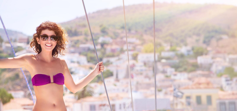 Happy female in sea cruise royalty free stock photos
