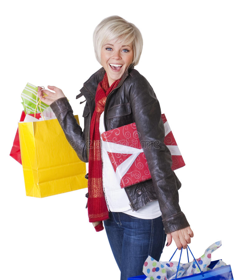 Happy Female Shopper royalty free stock photography