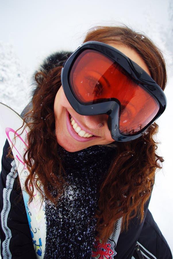Happy female skier