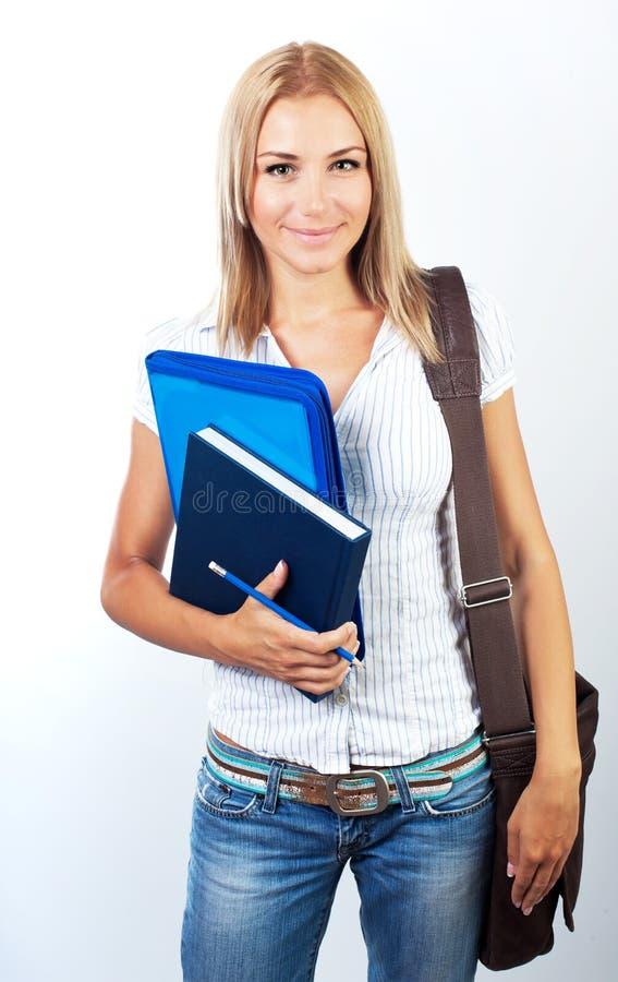 Happy female teen student portrait stock photos