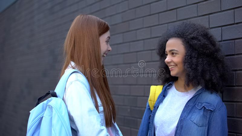 Happy female teenagers looking each other school backyard, friends communication royalty free stock images
