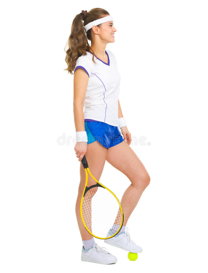 Download Happy Female Tennis Player With Racket And Ball Stock Photo - Image of looking, brunette: 31661088