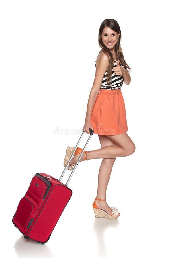 Happy Female Traveler Showing Thumb Up Stock Image