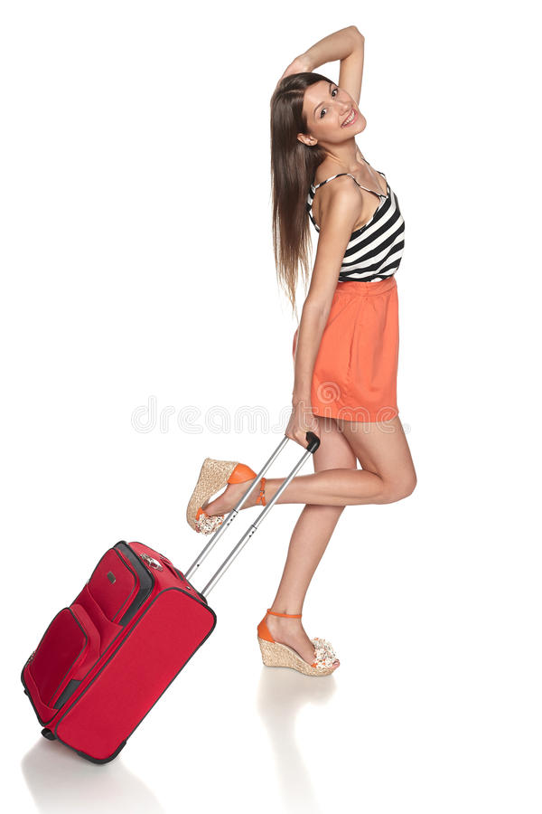 Download Happy female traveler stock photo. Image of length, baggage - 31962612