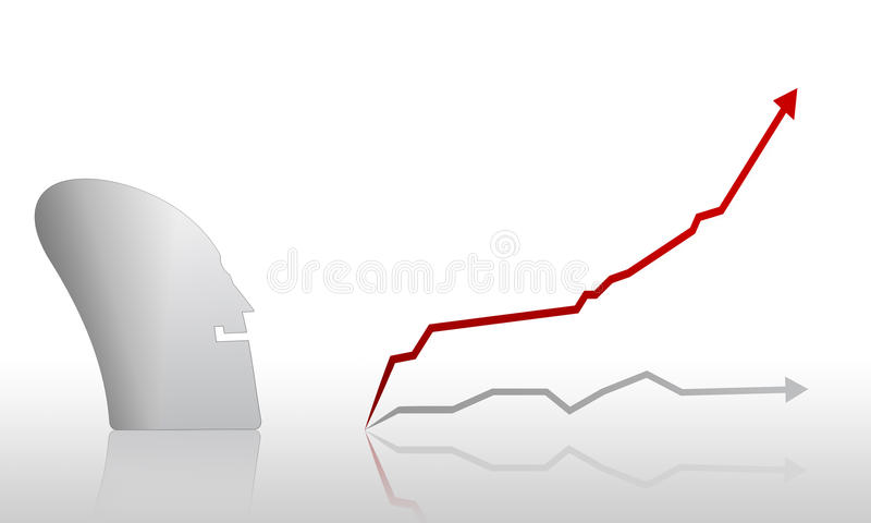 Happy Figure And Rising Graph Stock Photo