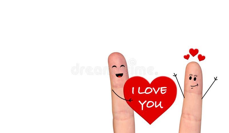 Happy finger couple in love celebrating Valentine day. A happy couple in love celebrating Valentine day vector illustration
