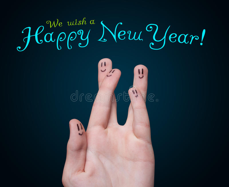 Happy finger smileys with happy new year sign royalty free stock image
