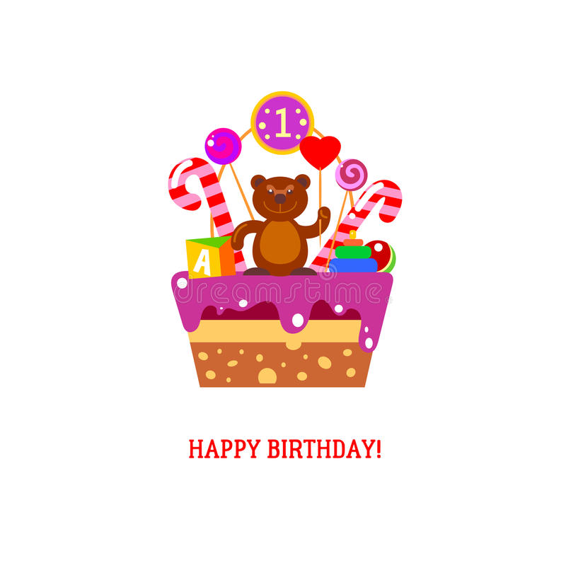 Happy First Birthday Cake With Bear Stock Vector Illustration Of