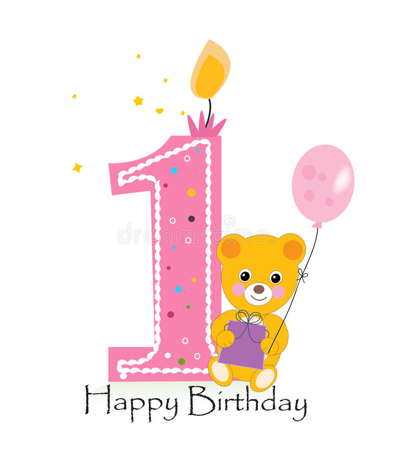 Happy first birthday candle. Baby birthday greeting card with teddy bear vector background stock illustration